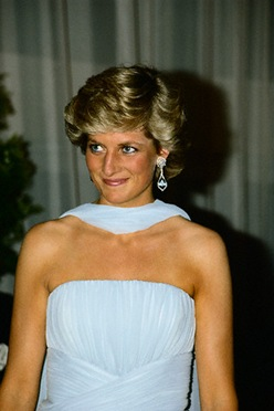 Princess Diana Diamond and Aquamarine Dangle Earrings