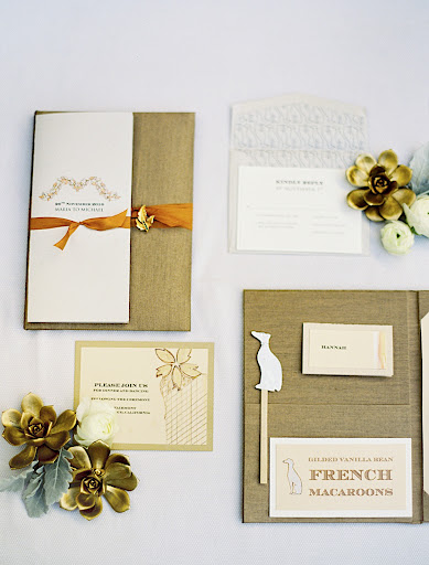 The stationery was all hand-painted with gold, copper, and silver colors. Images of greyhounds decorated the bar menu.