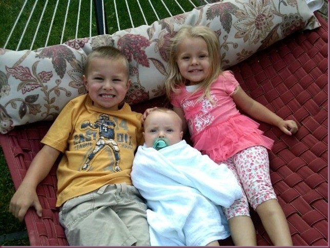Connor, Chloe and Curtis on hammock