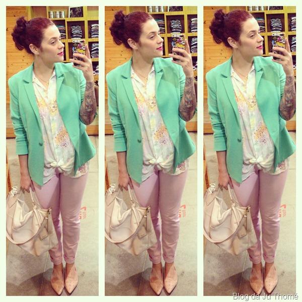 look calça rosa, camisa floral e blazer verde (2)