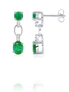 Oval, Round Emerald and Diamond Earrings