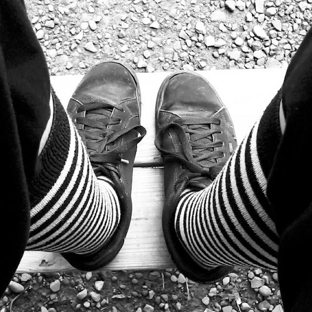 black and white striped socks Etnies style alt fashion