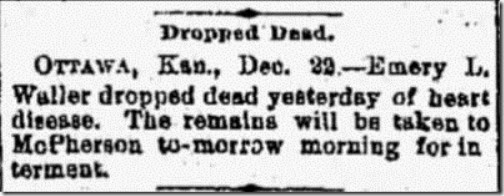 Waller Emery Obituary Hutchinson News 23 Dec 1890
