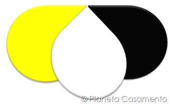 Paleta de Cores - Preto Branco e Amarelo- Planeta Casamento