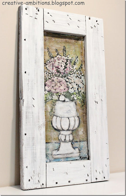 Flowers in Urn Crate Panel Painting