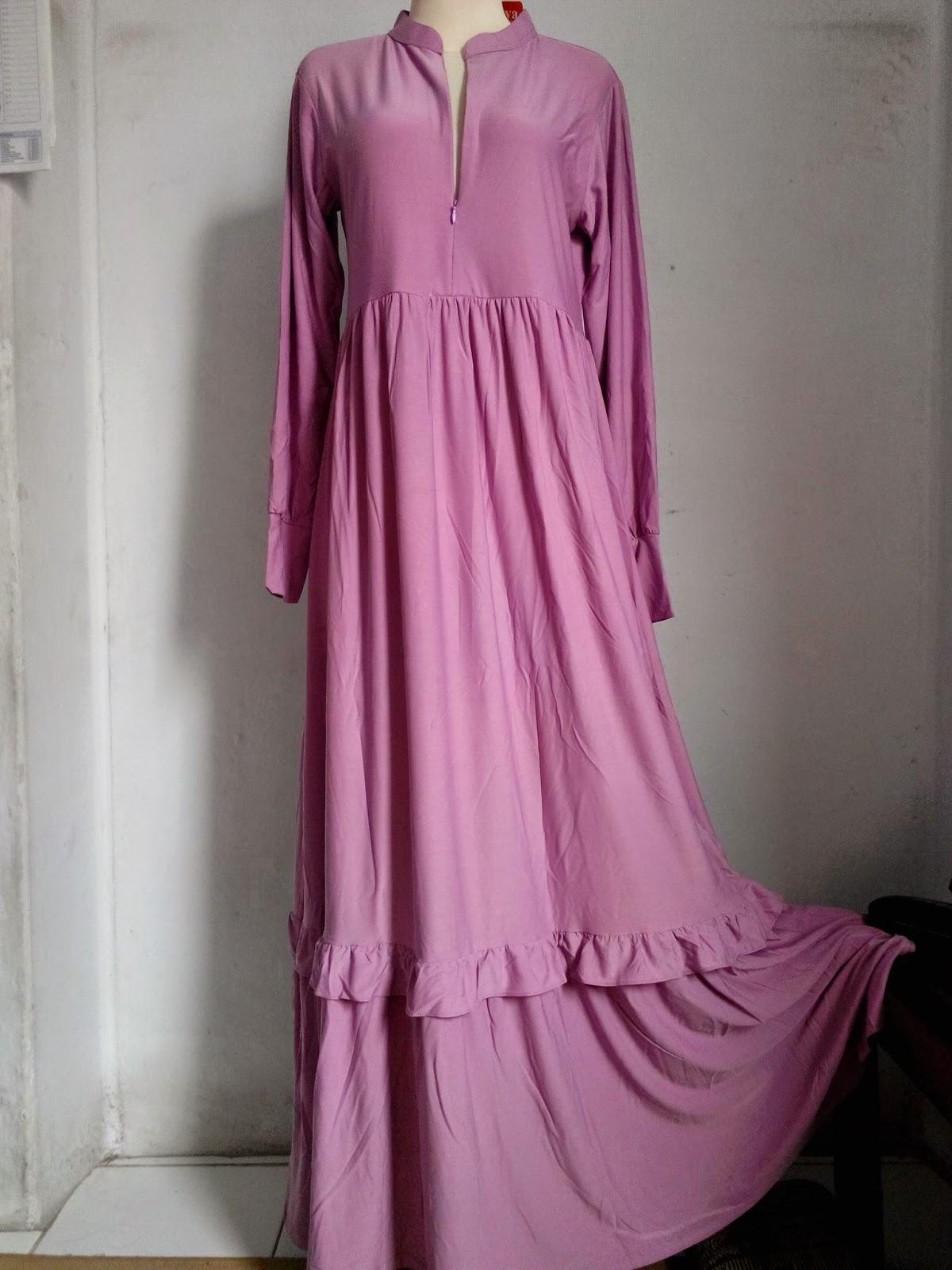 Gamis Muslimah Jersey Rempel Bahan Korea Berkualitas Halus Dan Tebal Pb 143 Ld 100 Lebar Bawah 115 Ready Warna Pink Dusty Ungu Hitam Coklat Moka Magenta