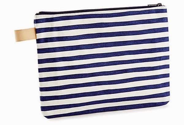 Karma Stripe Clutch Navy One Kings Lane