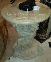 Twin Cherub Pedestal Table, Beige Venato Marble