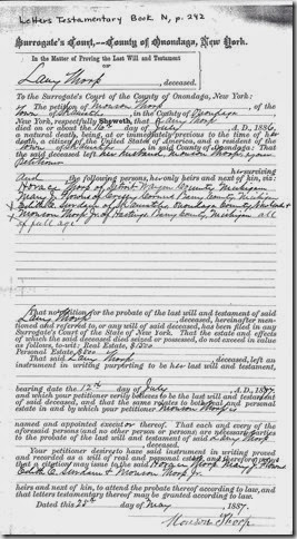 THORP_Lany_last will & test_1886_OnondagaCoNY_pg 1 of 2