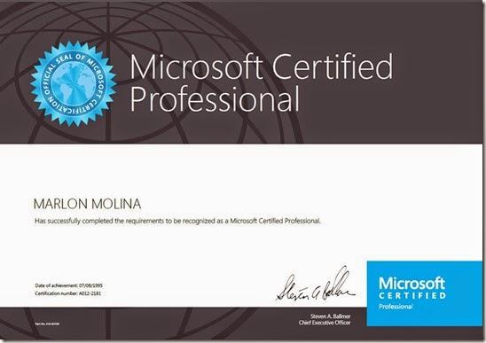 MCP Microsoft 1995 - Marlon Molina