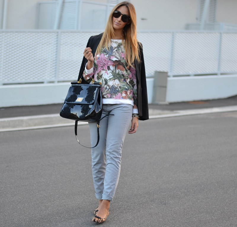 Zara, Floral, Animalier, Miss Sicily Bag, Dolce & Gabbana Bag, Fashion Blogger, Fashion Blog, Italian Fashion Blogger, Rifle, H&M Jacket, H&M Blaze