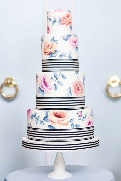 floral-and-striped-cake