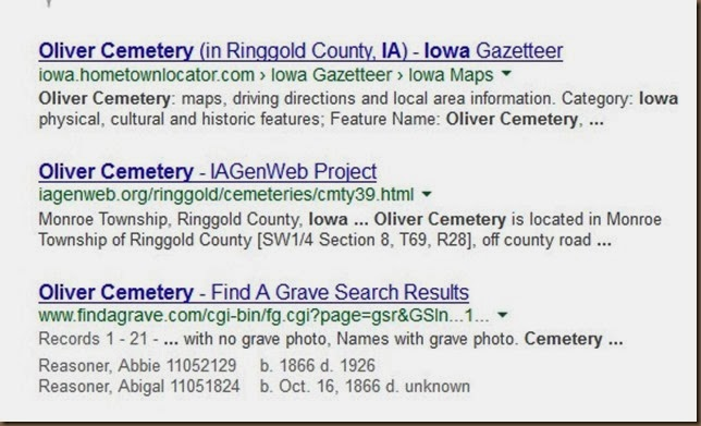 Oliver cemetery on Google with genweb list