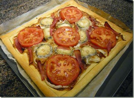 tomato, ham and goat's cheese tart