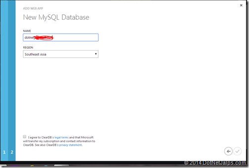 Wordpress blog mysql database creationg windows azure