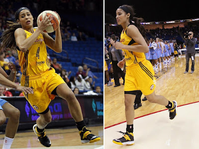 wearing brons wnba soldier7 skylar diggins 00 Skylar Diggins Rocks Soldier VII Tulsa Shock Away PE in WNBA Debut