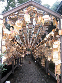A massive collection of prayer boards at Hikawa shrine, in Kawagoe