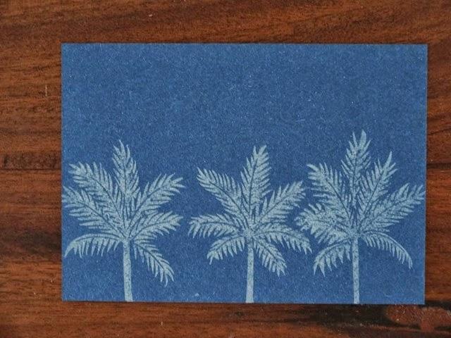Palmtrees bleu linogravure HeleneB