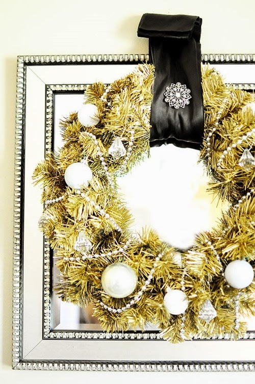DIY matte gold wreath- full tutorial and more DIY tutorials can be found at MonicaWantsIt.com