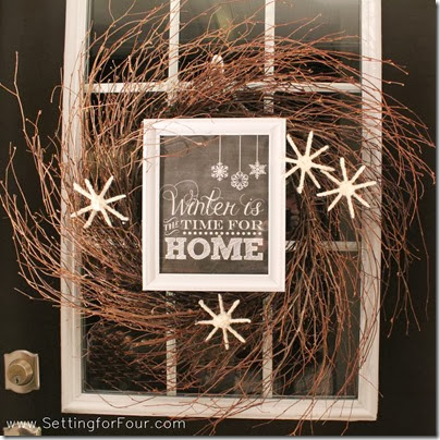 DIY Winter Wreath with Framed Printable