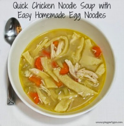 Play Party Pin Quick Chicken Noodle soup with homemade noodles