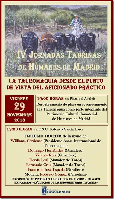 """Cartel IV JORNADAS TAURINAS """"HUMANES DE MADRID"""""""