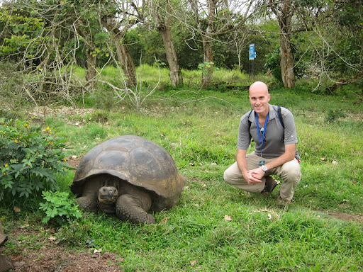 Erik with a giant land tortoise