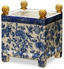 blue and white square chinese porcelain planter B004SO2YKI