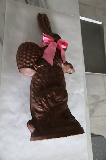 This giant chocolate Easter bunny from Conrad's Confectionery http://conradsconfectionery.com/, was used as holiday decor, and needed to find its next life - perhaps even a more useful one.