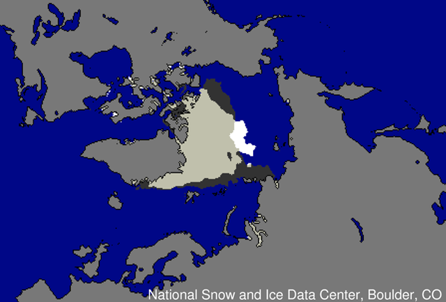 This image shows the different distribution of ice extent at the time of the September 2012 minimum, compared to the September 2007 minimum. Dark gray indicates where ice extent was present only in 2007; white indicates where ice extent was present only in 2012; and light gray shows where ice extent was present in both 2007 and 2012. National Snow and Ice Data Center