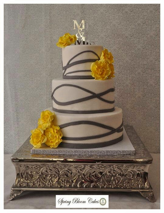 sweet mischief ja cake ideas coral yellow and grey wedding cakes
