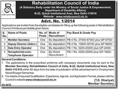 Rehabilitation Council of India-www.IndGovtJobs.in