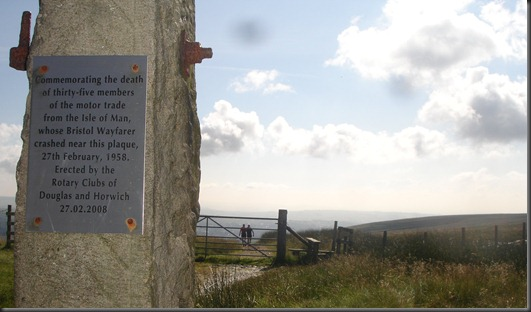 Plaque on Winter Hill. John & Ed heading off