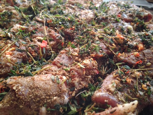 Porchetta (Roast Pork Belly) - After marinating with garlic, chilli, peppercorn-fennel seeds, Thyme (close up)