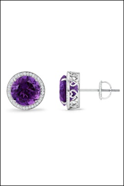 Round Amethyst and Diamond Halo Earrings with Metal Heart Detailing