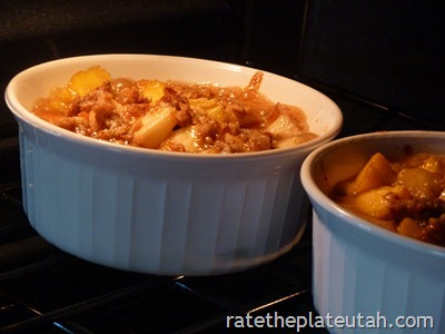 Pretzel-Crusted Caramel Peach Crisp Baking