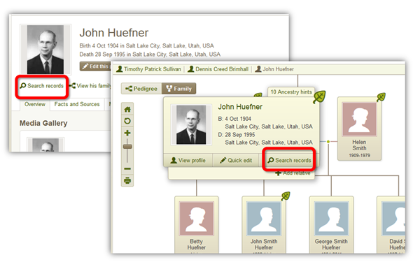 Start a search from your Ancestry Tree by clicking Search Records on the tree view or the profile page.