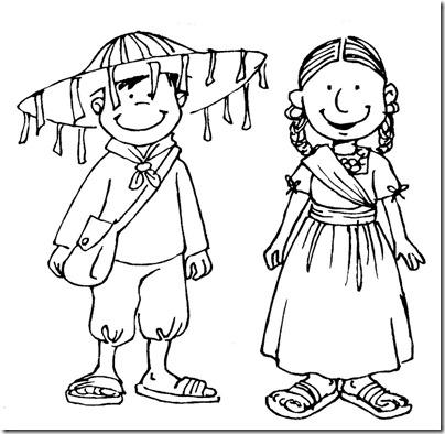 Colorear dibujos niños con trajes mexicanos | pintar y jugar