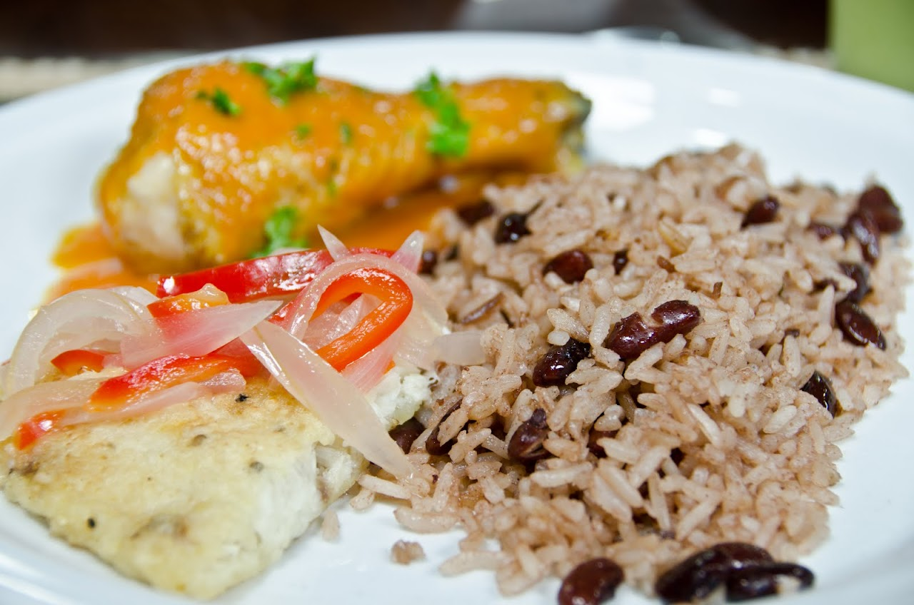 Chicken and rice and beans at O'Sullivan catering