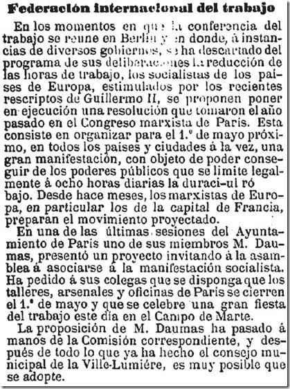 1890-03-24 - La Dinastía - 02 (Propuesta del 1º de Mayo)