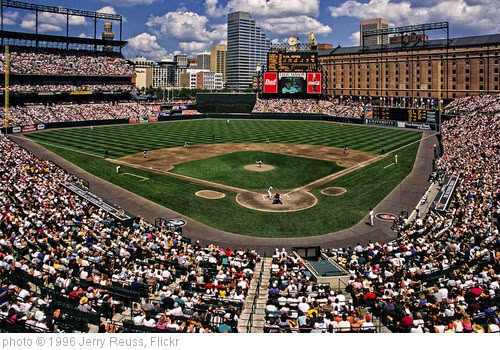 '1996 Baltimore Orioles Camden Yards' photo (c) 1996, Jerry Reuss - license: https://creativecommons.org/licenses/by-sa/2.0/