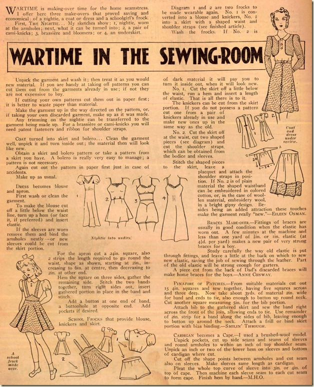 wartime in the sewing room