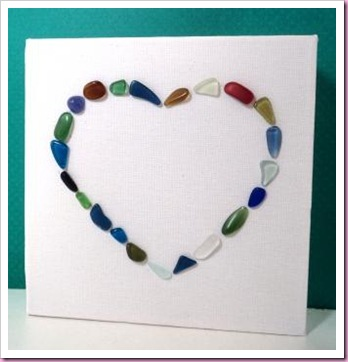 sea glass heart canvas 1
