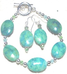 oval mottled blue green bracelet and earrings.3 4.2012