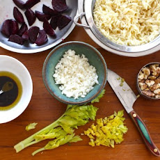 Recipe: Beet & Orzo Salad with Feta, Walnuts & Celery Greens.