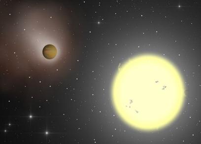 ilustração de um exoplaneta e sua estrela