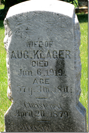 Grave marker of the wife of Aug. Klager, died 1919.
