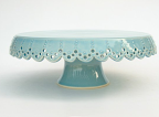 This scalloped aqua cake stand by Jeanette Zeis Ceramics is the perfect shade of blue (www.etsy.com/shop/vesselsandwares).