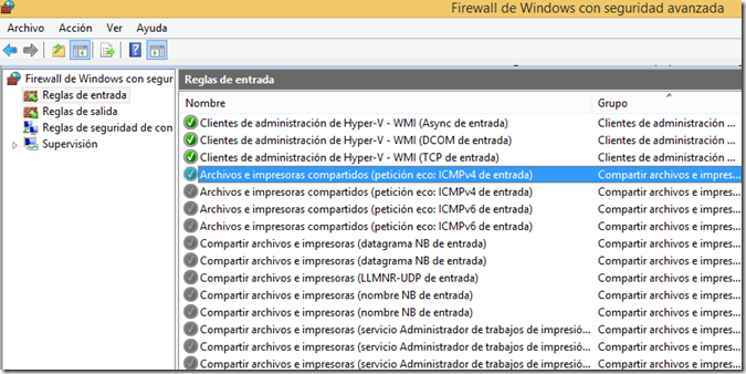 Habilitar Regla Firewall Windows