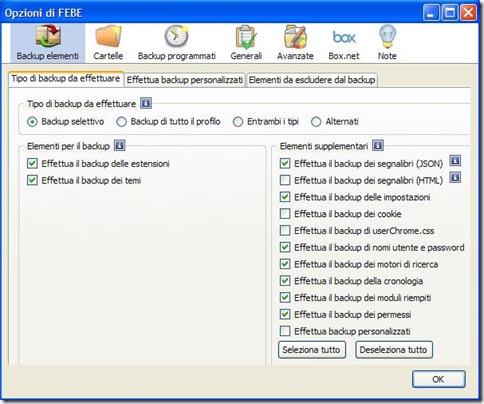 FEBE opzioni per backup e ripristino di Firefox